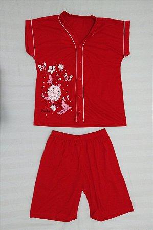 Pijama Pescador Estampado de Botão - Vermelho com Flores