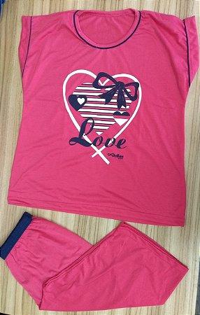 Pijama Pescador Estampado - Rosa Pink com Corações