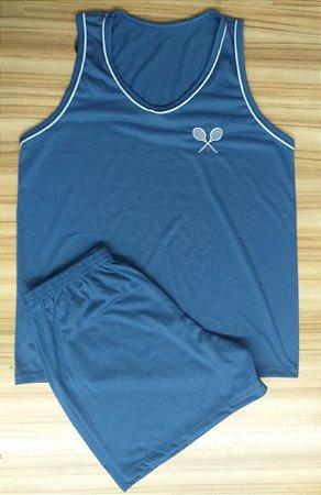 Pijama Masculino Camiseta - Azul Marinho com Raquetes Bordadas