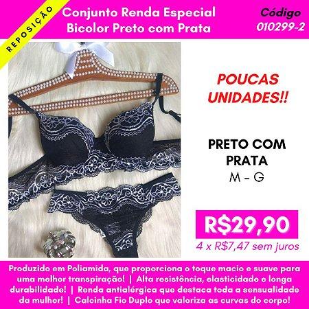 Conjunto Renda Especial - Bicolor Preto com Prata