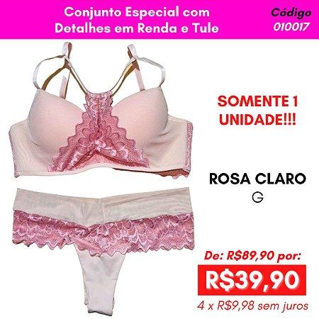 Conjunto Especial com Detalhes em Renda e Tule - Rosa Claro