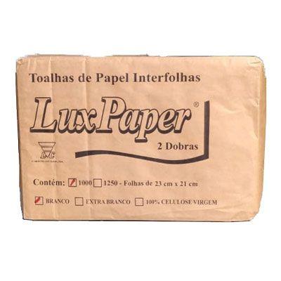 Papel Toalha Duas Dobra 20x21 C/1000 Branco Lux Paper
