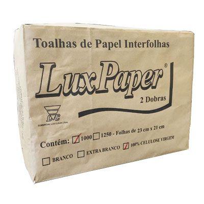 Papel Toalha Duas Dobra C/1000 23x21 100% Celulose Lux Paper
