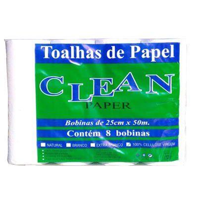 Papel Toalha P/ Bobina 8x25x50 100% Celulose Clean Paper