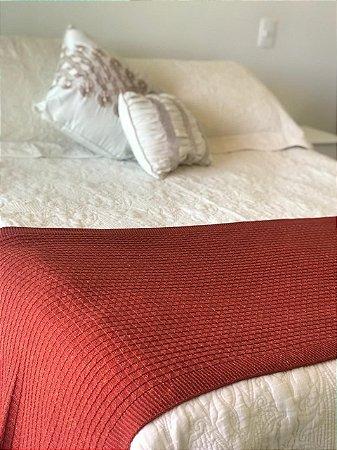 Peseira Manta de Tricô Tijolinho Para Cama de Casal Padrão ou Sofá 200x65 cm