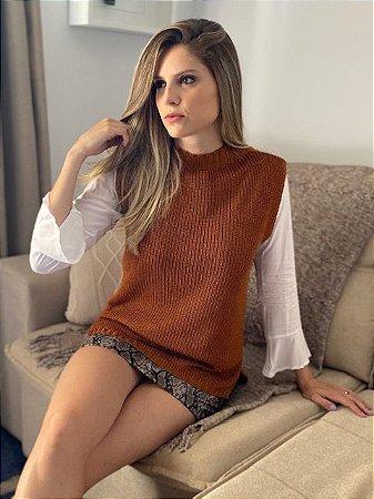 Colete Kamille Moda Tricô Gola