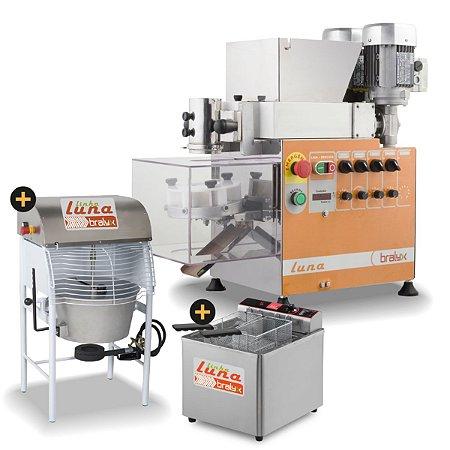 Linha completa Máquina de fazer salgados e doces Luna + Misturela + Fritadeira GFAO 18M 220V