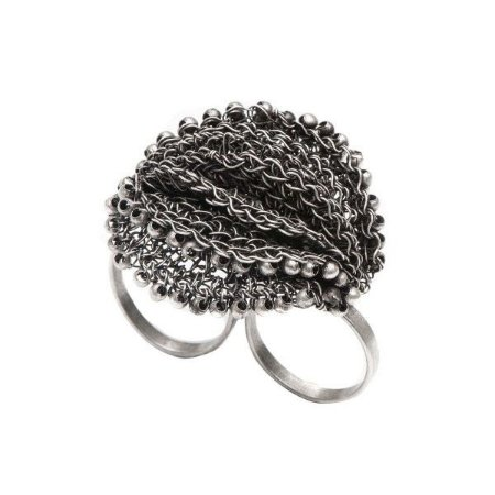 Anel Duplo Medalhas Crochê em Metal Artesanal Heliana Lages