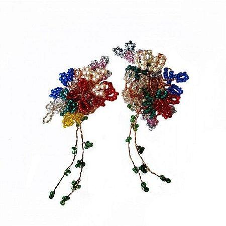 Brinco Pressão Fairy Crochê em Metal Artesanal Heliana Lages