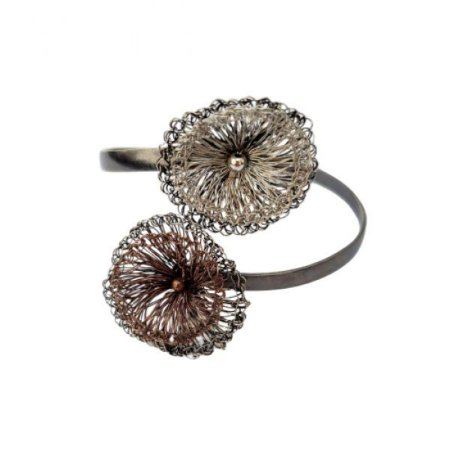 Pulseira Shell de Crochê em Metal Artesanal Heliana Lages