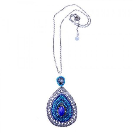 Colar Mandala Azul Crochê em Metal Artesanal Heliana Lages