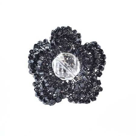 Anel Flore de Crochê em Metal Artesanal Heliana Lages