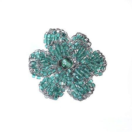 Anel Floral de Crochê em Metal Artesanal Heliana Lages