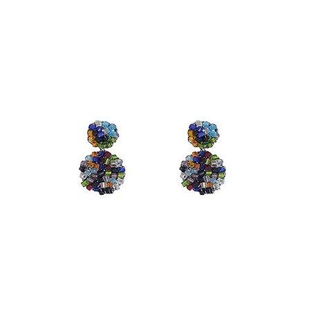 Brinco Mini Medalhas Crochê em Metal Artesanal Heliana Lages