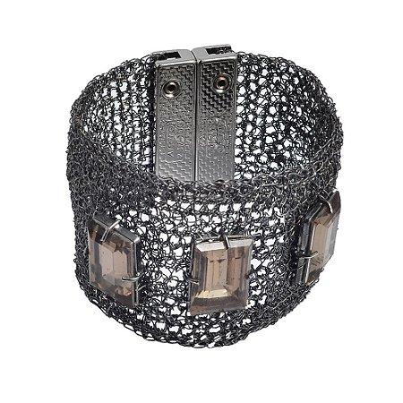 Pulseira Noite Fria Crochê em Metal Artesanal Heliana Lages