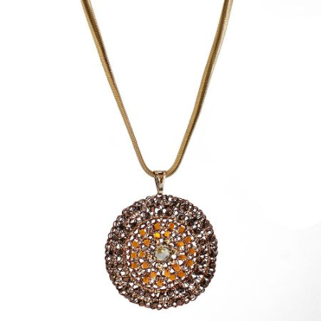 Colar Mandala Girassol Crochê em Metal Artesanal HelianaLages
