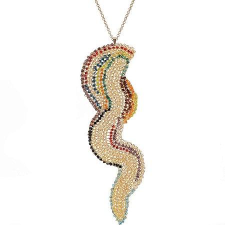 Colar Raio Color de Crochê em Metal Artesanal Heliana Lages