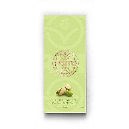 Chocolate Artesanal 70% Cacau com Xylitol e Pistache 80g
