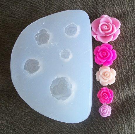 Molde de silicone Rosas (5 tam. 2;1,5;1,3;1,1 e 0,9cm)