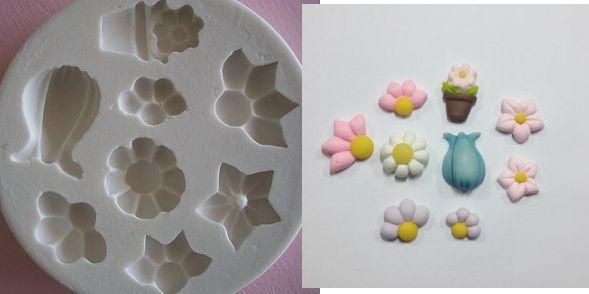Molde de silicone Flores p/ docinho e vaso - (2,7 a 1,5cm)