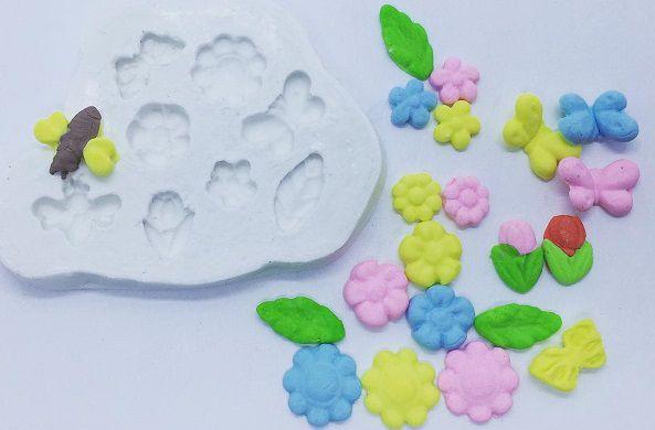 Molde de silicone Flores e animais (1,8 a 1cm)