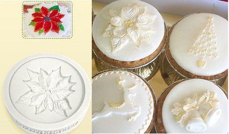 Molde de Silicone Topo cupcake - flor de Natal (Katy Sue Designs) (6cm)