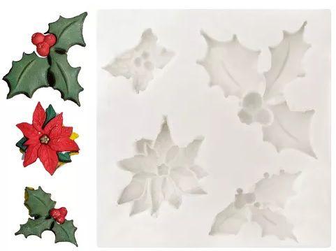 Molde de silicone Azevinhos e flor Natal