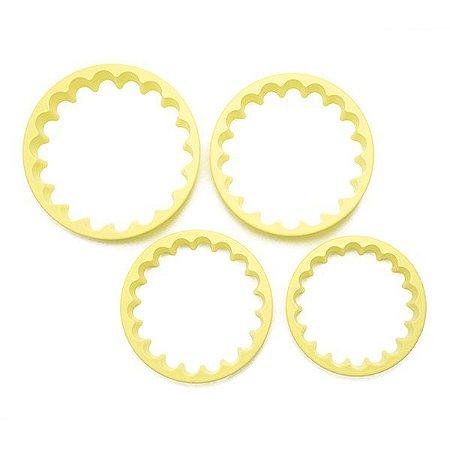 Cortadores de biscoito e pasta americana Circular Babados P, c/ 4 peças