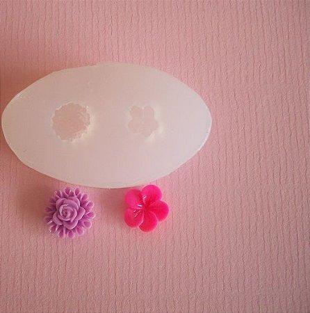Molde de silicone Rosa e flor PP (1,4 e 1,2cm)