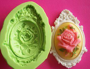 Molde de Silicone Placa Camafeu rosa (6,2cm)