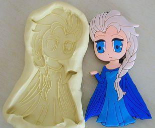 Molde de Silicone Princesa Elsa G (8cm)