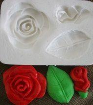 Molde de silicone Rosa e botão - 4524 (3,5 e 2,5cm)