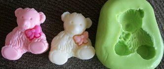 Molde de Silicone Urso c/ laço(2,2cm)