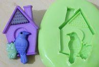 Molde de Silicone Casa e pássaro (2,8cm)