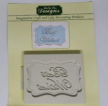 Molde de silicone Moldura Best Wishes (Katy Sue Designs - importado)