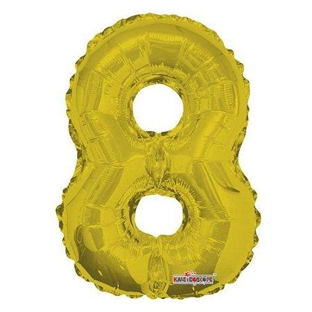 Balão Metalizado Minishape Regina N8 Dourado