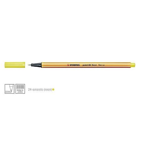 Caneta Stabilo 0,4mm Point 88/024 Amarelo Neon