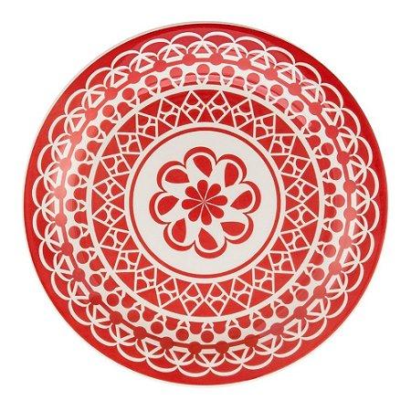 Prato Raso de Cerâmica Oxford 26cm Renda