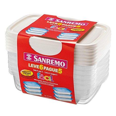 Conjunto Potes Plást Sanremo 785ml Leve 6 Pague 5