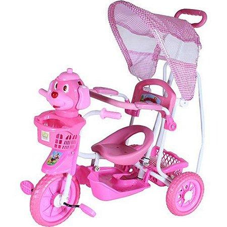 Triciclo Belfix Cabeça Cachorro Rosa Com Capota