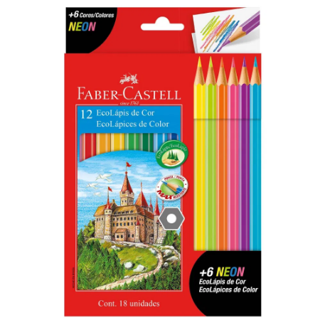 Lápis de Cor 12 Cores + 6 Neon Faber-castell