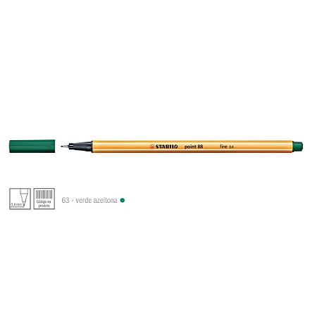 Caneta Stabilo 0,4mm Point 88/63 Verde Azeitona