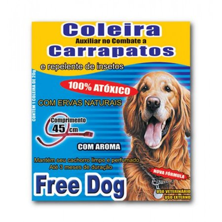 Coleira para Cães Anticarrapatos 45cm Free Dog