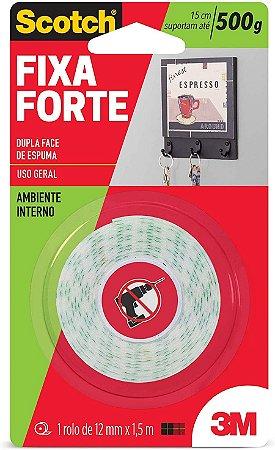 Fita Dupla Face Espuma 3M Scotch 12mm x 1,5m Fixa Forte