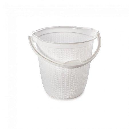 Balde Plástico Plasútil Trama Branco 8L