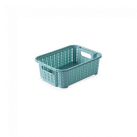 Cesta Organizadora Plástica Plasútil Trama Azul 990ml