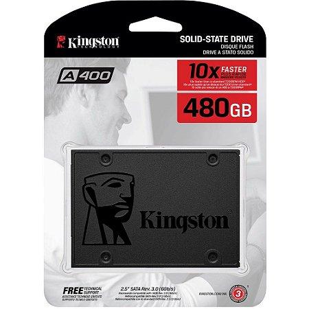 SSD Kingston A400, 480GB, SATA, Leitura 500MB/s, Gravação 450MB/s - SA400S37/480G