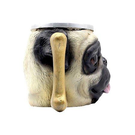 Caneca 3d Cachorro Pug Dog Resina e Aluminio - Zona Criativa