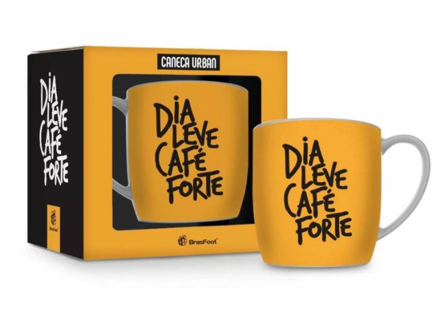 Caneca porcelana urban 360ml - dia leve cafe forte - Brasfoot