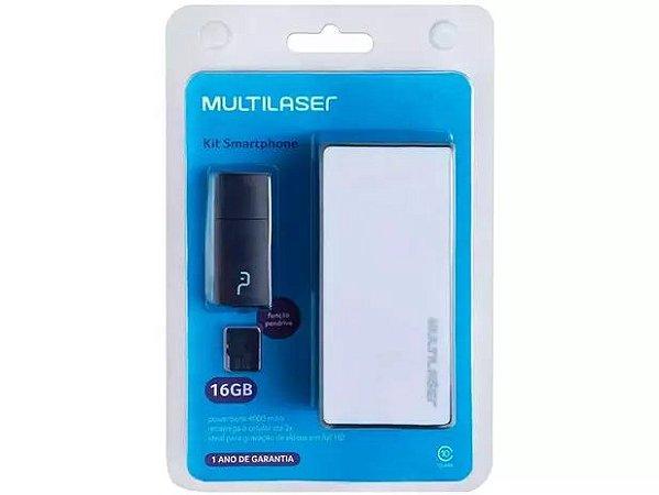 Carregador Portátil/Power Bank Multilaser 4000mAh - e Cartão de Memória 16GB com Adaptador USB MC220